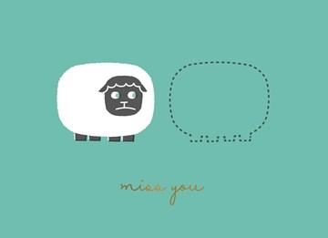 Liefde kaart - Vriendschapskaart - miss-you-sheep