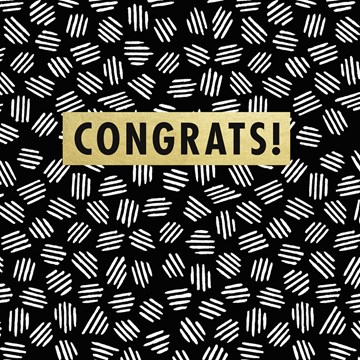 Gold & Fabulous - congrats-on-black-and-white-pattern