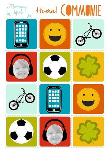 Communie kaart - een-do-it-yourself-memory-spel-hoera-communie