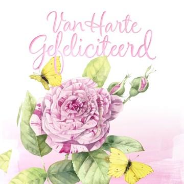 verjaardagskaart vrouw - van-harte-gefeliciteerd-met-deze-roos