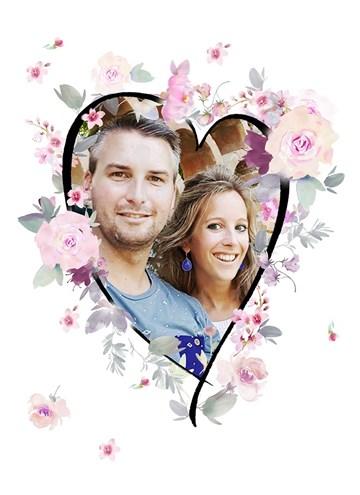 - hart-shape-bloemen-fotokaart