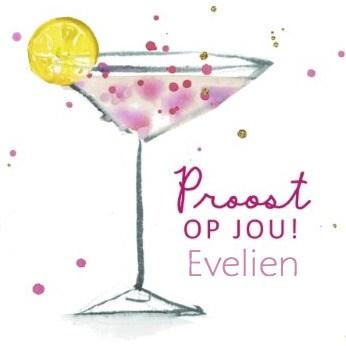 verjaardagskaart vrouw - proost-met-cocktail