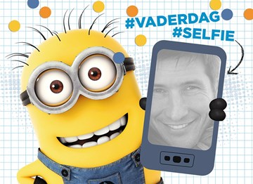 vaderdagkaart - minion-vaderdagkaart-hashtag-selfie