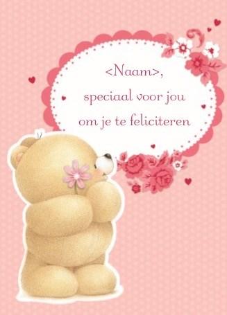 verjaardagskaart vrouw - felicitatie-beer-bloem
