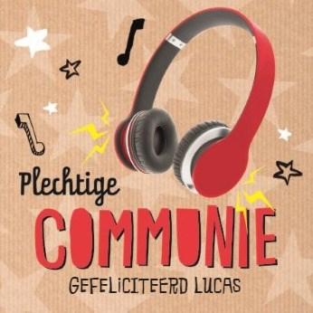 Communie kaart - stoere-muzikale-communie-kaart-met-koptelefoon