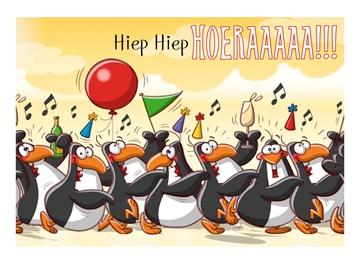 Verjaardagskaart jongens - pinguins-lopen-polonaise-2