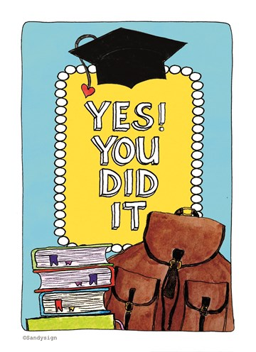 Geslaagd / Diploma kaart - yes-you-did-it-sandysign