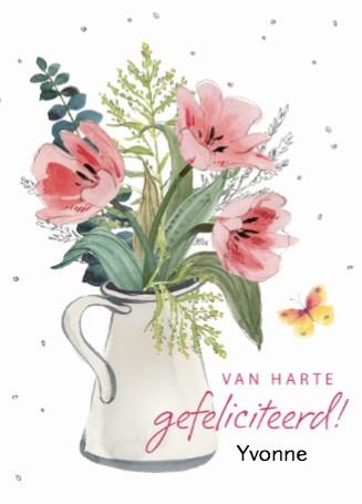 verjaardagskaart vrouw - watercolor-bloemen-in-vaas
