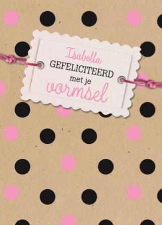 Communie kaart - gefeliciteerd-met-je-vormsel-zwart-roze-stippen