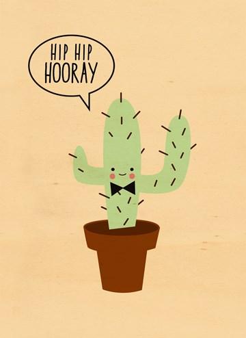 verjaardagskaart man - cactus-hip-hip-hooray