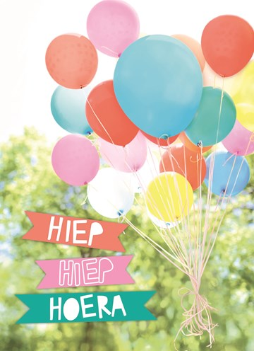 Verjaardagskaart kids - kleurrijke-ballonnen
