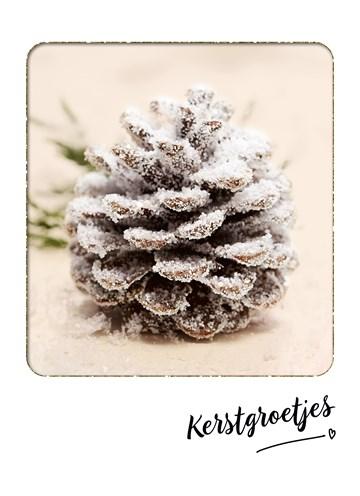 Kerstkaart - Dennenappel-met-kerstgroet