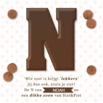 Sinterklaas kaart - sinterklaas-chocoladeletter-N