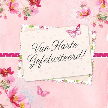 Felicitatiekaart - van-harte-gefeliciteerd-roze-kaart-met-bloemen
