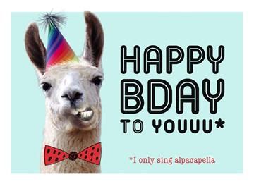 verjaardagskaart vrouw - happy-bady-party-alpaca-