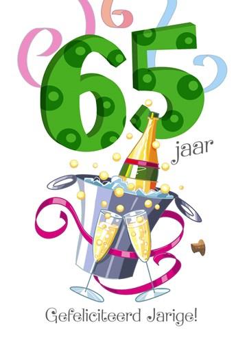 - verjaardagskaart-65-jaar-champagne-fles-glazen