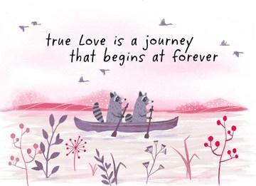 Huwelijkskaart - Trouwdagkaart-Engels-True-love-is-a-journey