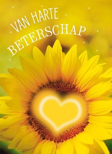Beterschapskaart - Beterschapskaart-zonnebloem-met-hart