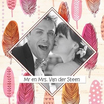 - fotokaart-veertjes-mr-and-mrs