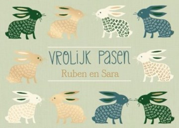 - chique-paaskaart-met-gouden-blauwe-en-groene-konijnen