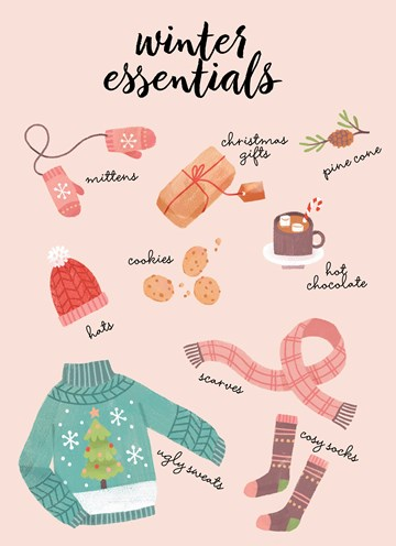 Kerstkaart - hallmark-kerstkaart-winter-essentials