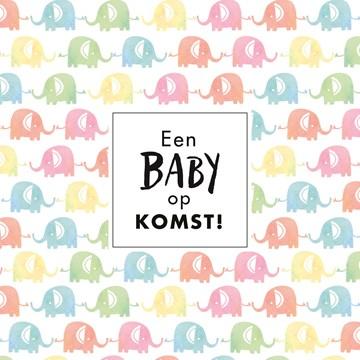 In verwachting kaart - kaart-een-baby-op-komst-met-gekleurde-olifantjes