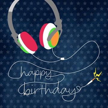 Verjaardagskaart jongens - koptelefoon-happy-birthday