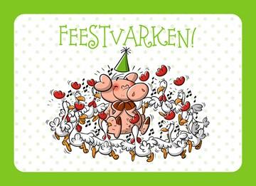 Funny Mail kaart - feestvarken-omringd-door-kippen