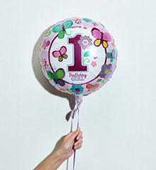 Ballon Verjaardag Roze 1 Jaar