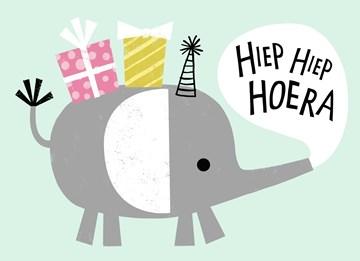 verjaardagskaart meisjes - hiep-hiep-hoera-met-olifant