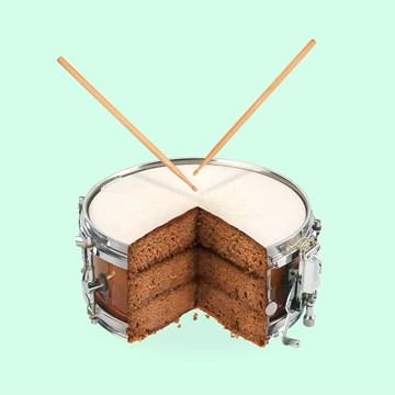 - Verjaardagskaart-Tiener-Grappig-Taart-Drumstel