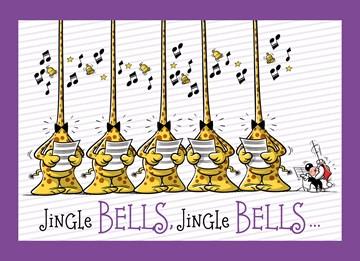 Funny Mail kaart - Five-jingle-bells