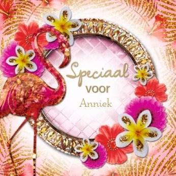 verjaardagskaart vrouw - la-mystique-bloemen-diamanten-flamingo