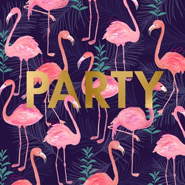 Felicitatiekaart - flamingo-party