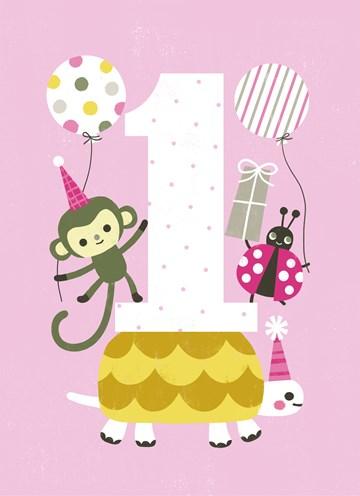 Verjaardagskaarten leeftijd - eerste-verjaardag-roze