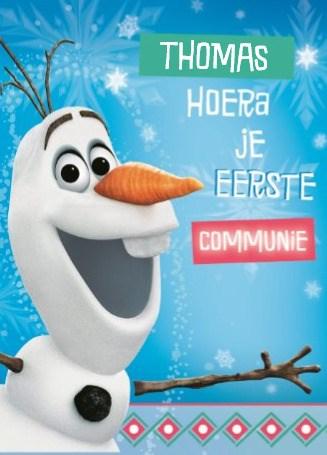Communie kaart - frozen-hoera-eerste-communie