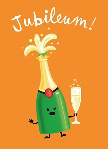 Werken / Pensioen kaart - jubileum-fles-champagne