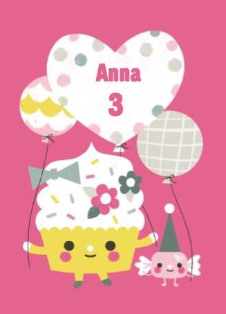 Verjaardagskaarten leeftijd - cupcake-met-ballon