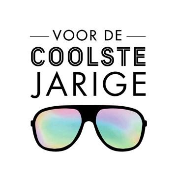 verjaardagskaart jongen - voor-de-coolste-jarige-zonnebril