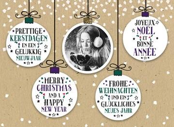 Kerstkaart - kerstballen-kaart