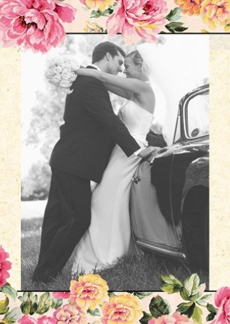 Huwelijkskaart met foto - huwelijk-fotokaart-bedankt-gekleurde-bloemen