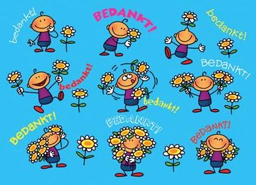 Bedankt kaart - poppetje-bloemetje-bedankt