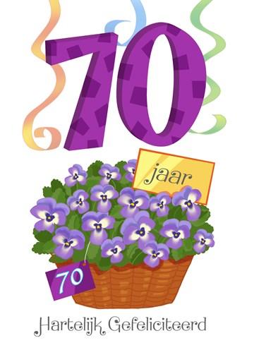 Verjaardagskaart leeftijden - zeventig-jaar-met-bloempot