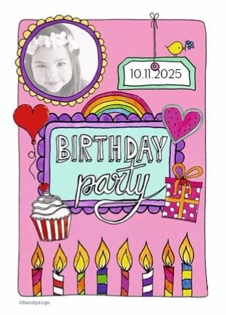 Uitnodiging kaart - birthdayparty-kaarsjes