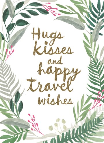 Reizen kaart - botanical-kaart-hugs-kisses-and-happy-travel-wishes