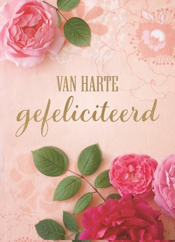 Verjaardagskaart vrouw - roze-rozen-kaart