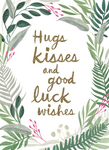 succes goed gedaan kaart - hugs-kisses-and-good-luck-wishes