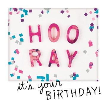 Verjaardagskaart meiden - polaroid-hoor-ray-its-your-birthday