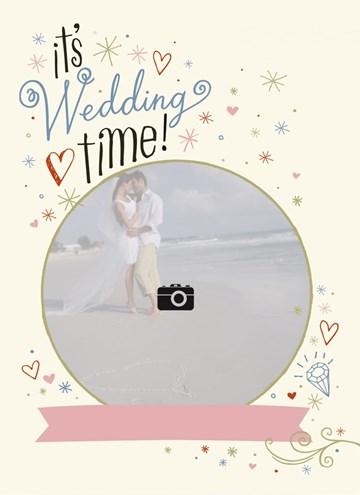 Huwelijkskaart met foto - fotokaart-cirkel-its-wedding-time