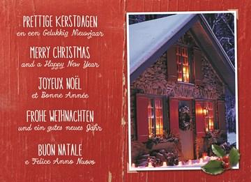 Kerstkaart - meertalig-winterhuisje